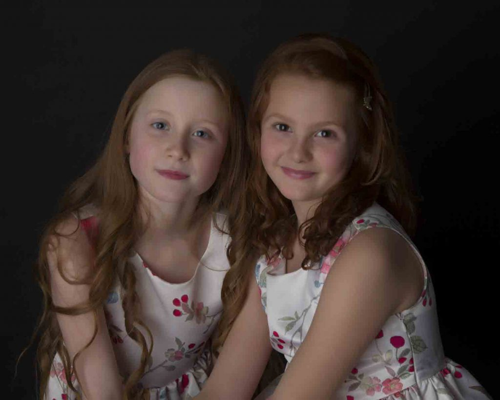 two young girls in studio