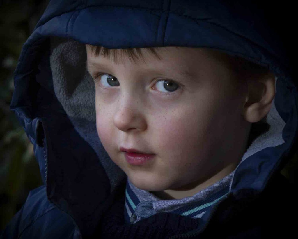 close-up of boy with hoodie