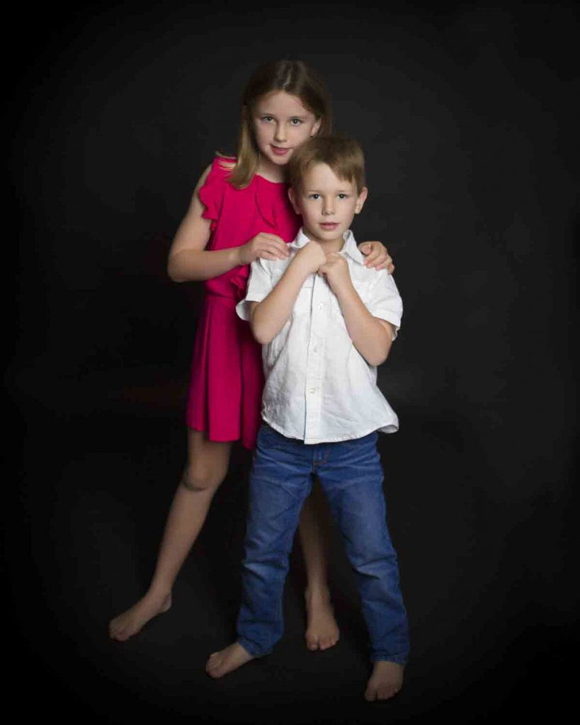 boy and girl in studio