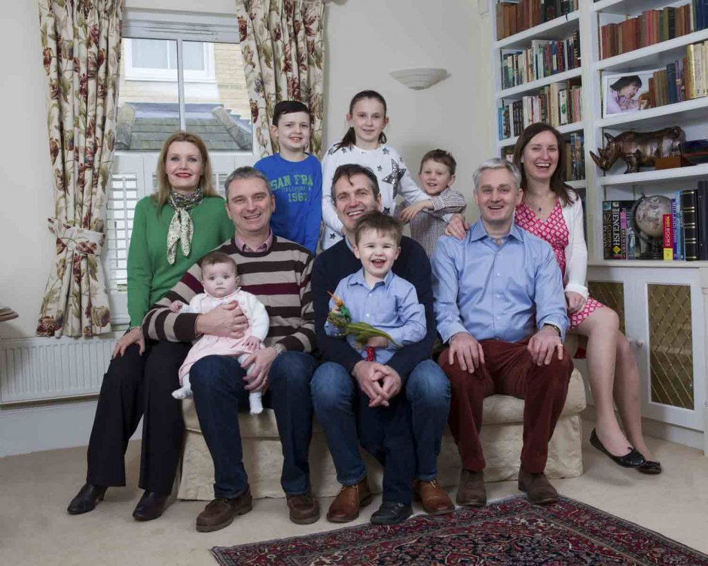 large family group at home