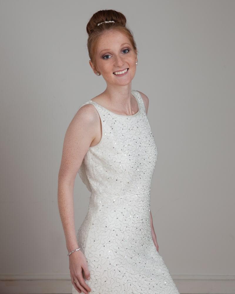 portfolio - woman in studio in evening dress and tiara